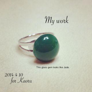 20140410かおるさん用ヒスイ風リング
